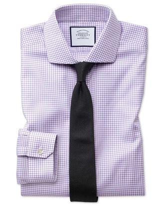 Super slim fit non-iron spread collar lilac grid check Oxford stretch shirt
