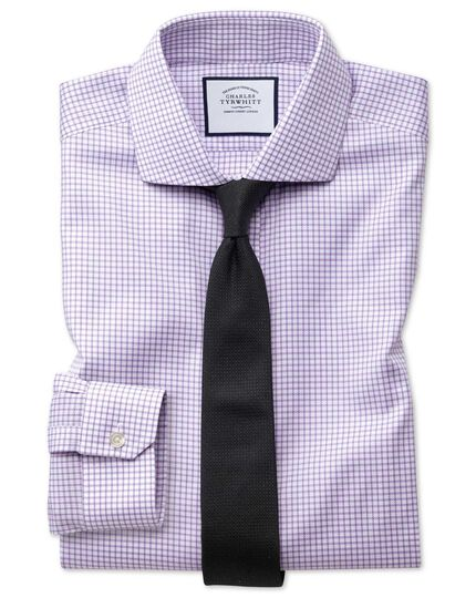 Chemise lilas à carreaux et col cutaway en oxford stretch super slim fit sans repassage