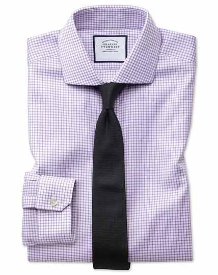 Super slim fit non-iron lilac grid check Oxford stretch shirt