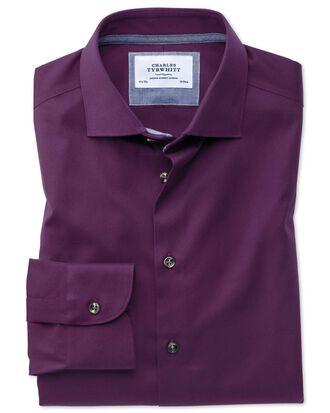 Slim fit semi-cutaway business casual non-iron modern textures dark purple shirt