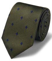 Olive silk Fleur-de-Lys stain resistant classic tie