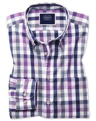 Classic fit purple multi check soft washed non-iron Tyrwhitt Cool shirt