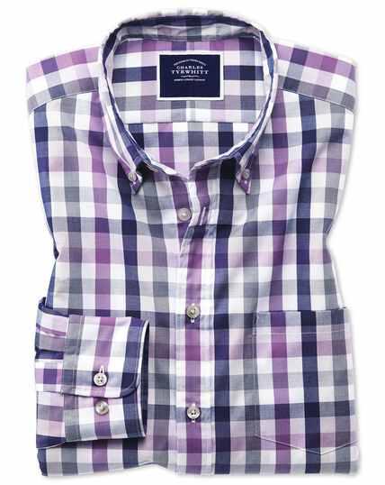Slim fit purple multi check soft washed non-iron Tyrwhitt Cool shirt