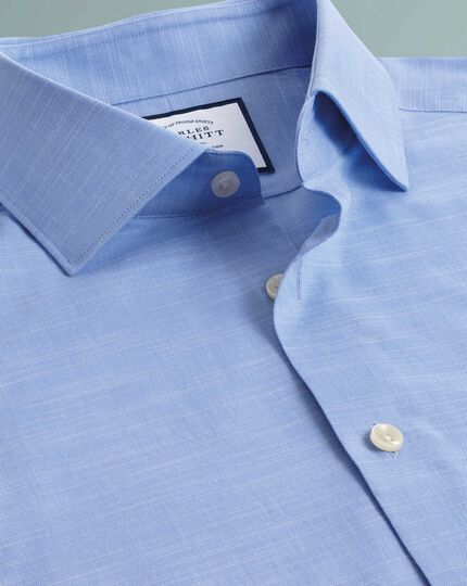 Classic fit business casual Egyptian cotton slub sky blue shirt