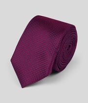 Silk Slim Pindot Plain Tie - Berry