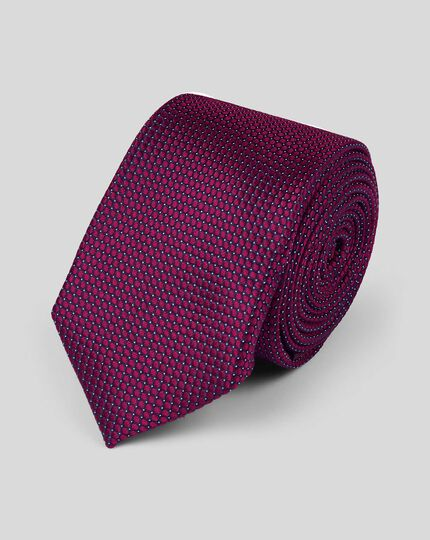 Silk Slim Pindot Semi Plain Tie - Berry