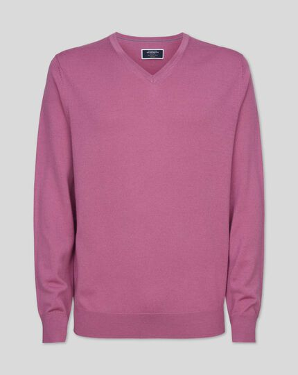 Merino V-neck Jumper - Pink