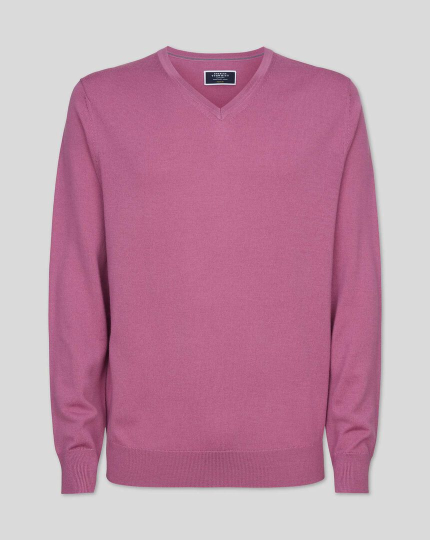 Merino V-neck Sweater - Light Pink