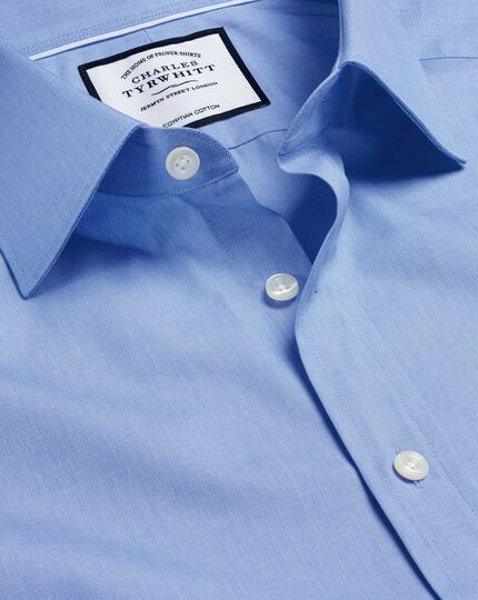 Semi-Spread Collar Egyptian Cotton Poplin Shirt - Blue