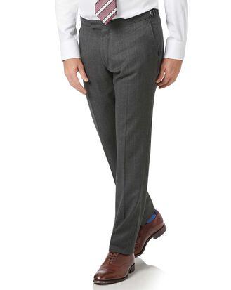 Charcoal slim fit tan stripe British luxury suit pants