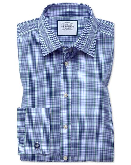 Slim fit Prince of Wales check blue and green shirt