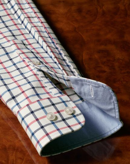 Classic fit button-down washed Oxford navy and pink check shirt