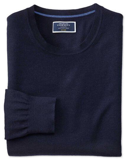 Pull bleu marine en laine mérinos à col rond