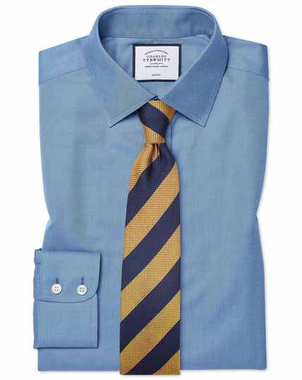 Classic fit non-iron twill blue shirt