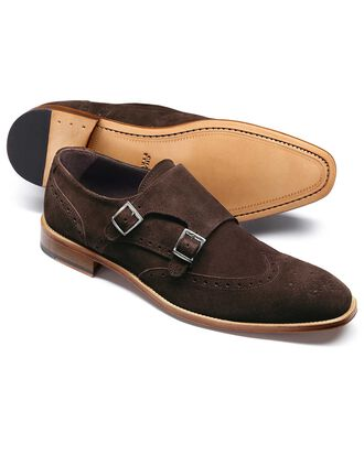 Brown suede double buckle monk shoe