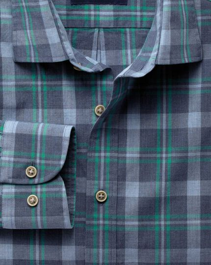 Slim fit blue and green check heather shirt