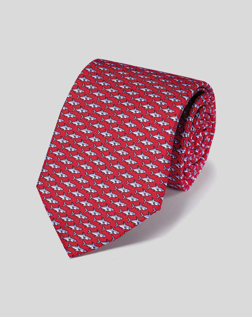 Shark Silk Print Classic Tie - Red