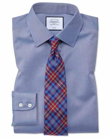Bügelfreies Hemd aus Twill - Mittelblau