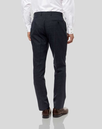 Grid Check Suit Trousers - Blue