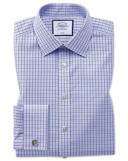 Slim fit non-iron blue and purple check shirt