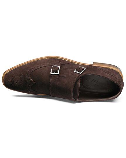 Brown suede double buckle monk shoe