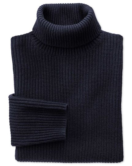 Navy rib roll neck jumper