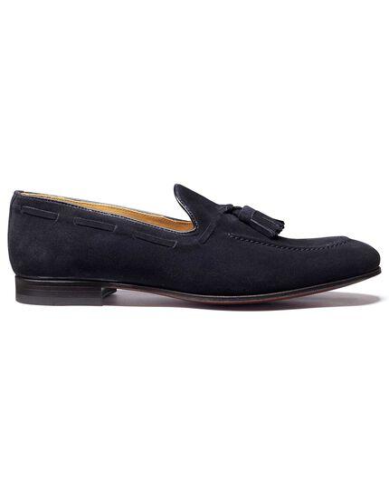Navy suede tassel loafer