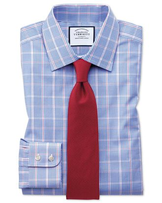 Classic Fit Hemd in Blau mit Prince-of-Wales-Karos
