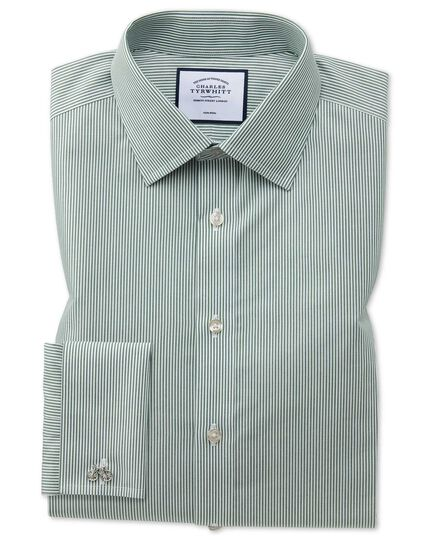 Classic fit non-iron olive Bengal stripe shirt