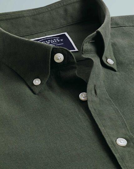 Classic Fit Twillhemd aus Baumwolle/Leinen in Olive