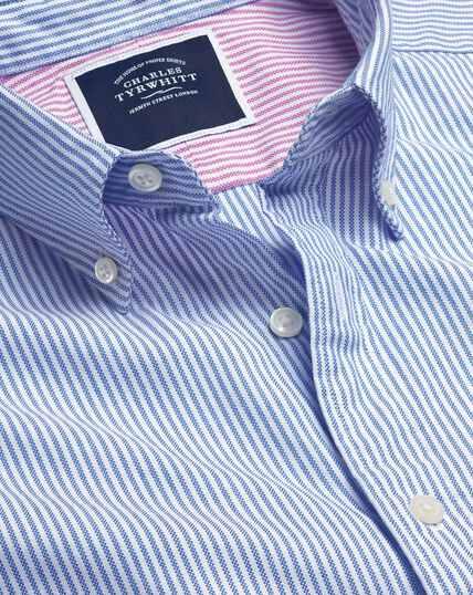 Vorgewaschenes Oxfordhemd mit Button-down-Kragen und Bengal-Streifen - Blau&Weiß