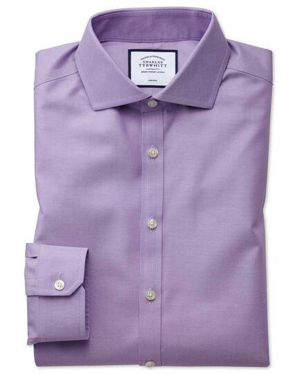 Super slim fit lilac non-iron twill shirt