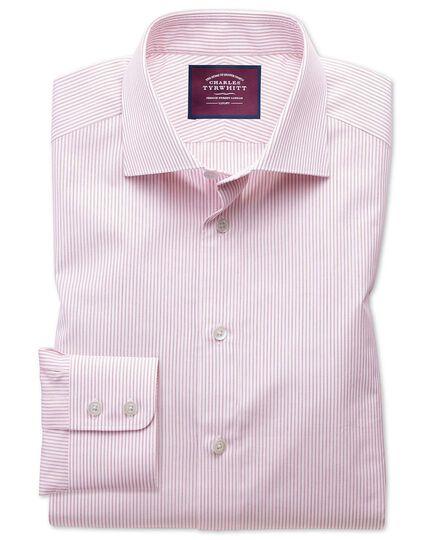 Classic fit semi-cutaway luxury poplin red and white shirt