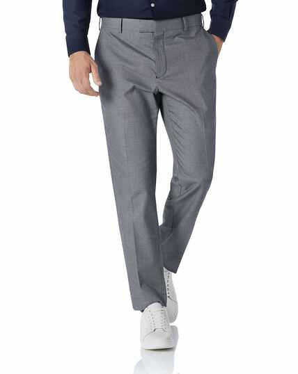 White and navy slim fit stretch non-iron trousers
