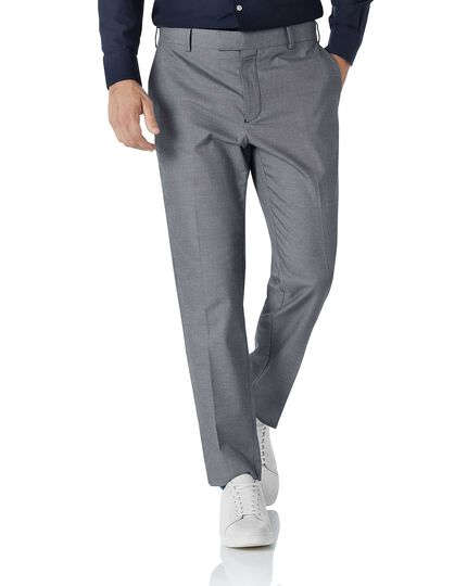 White and navy slim fit stretch non-iron Pants