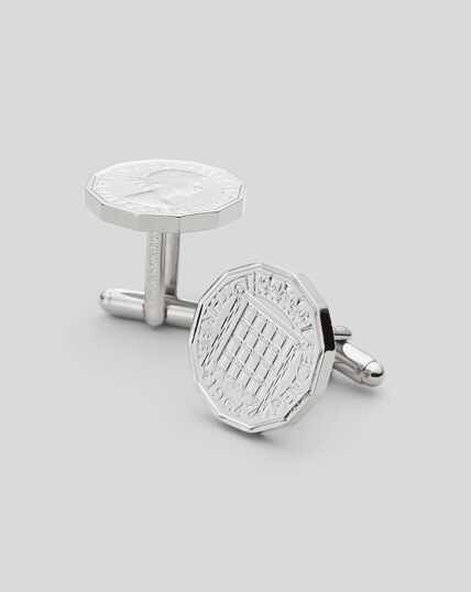 Threepence Coin Cufflinks - Silver
