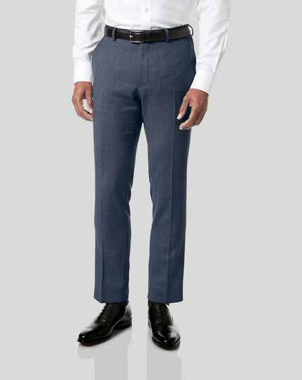 Birdseye Travel Suit Trousers - Light Blue