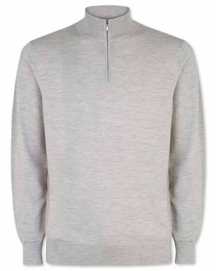 Silver merino zip neck jumper