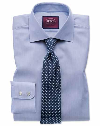 Slim fit semi-spread collar luxury cotton silk blue shirt