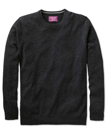 Charcoal cashmere crew neck jumper