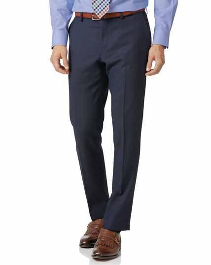 Airforce blue slim fit birdseye travel suit trousers