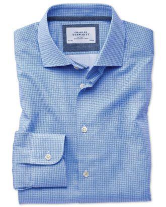 Classic fit semi-spread collar business casual geometric print mid blue shirt