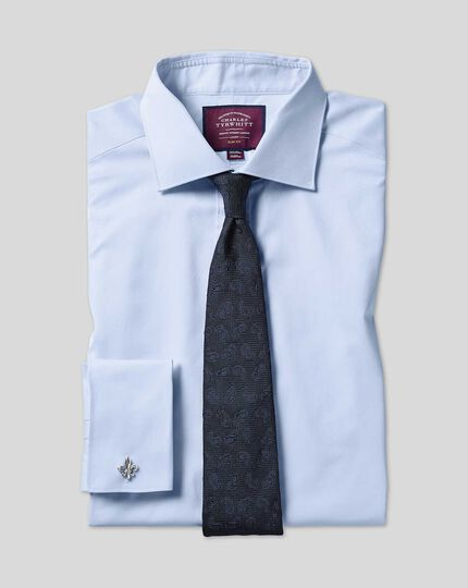 Semi-cutaway Collar Luxury Twill Shirt  - Light Blue