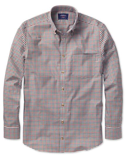 Extra slim fit button-down non-iron twill multi gingham shirt