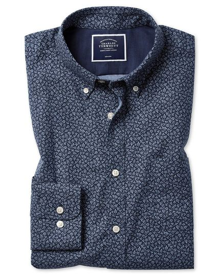 Classic fit navy print soft wash non-iron twill shirt