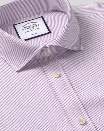 Spread Collar Non-Iron 4 Way Stretch Stripe Shirt- Lilac