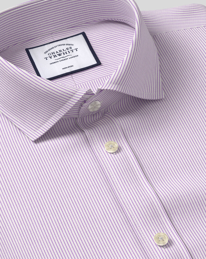 Cutaway Collar Non-Iron 4 Way Stretch Stripe Shirt- Lilac