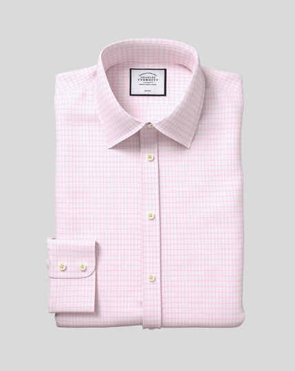 Classic Collar Non-Iron Cotton with TENCEL™ x REFIBRA™ Check Shirt - Pink