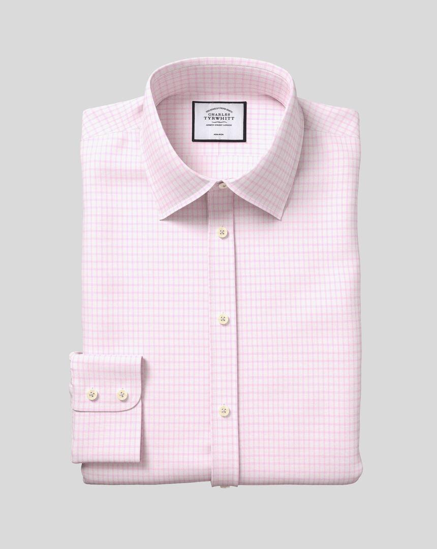 Bügelfreies Hemd aus Baumwolle mit TENCEL™ x REFIBRA™ Technologie, Kent-Kragen und Karos - Rosa