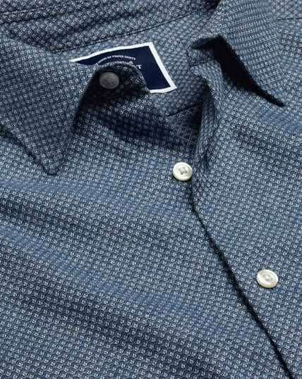 Brushed Cotton Linen Textured Shirt - Navy